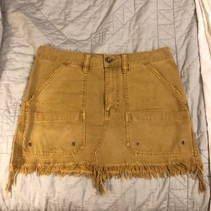 Free People Canvas Distressed Mini Skirt